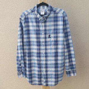 Disney Parks Blue Plaid Button Down Men's Shirt
